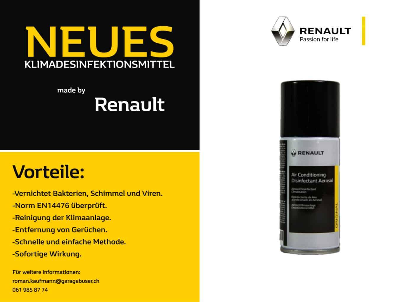 Klimadesinfektion, neues Mittel von Renault